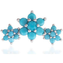 Load image into Gallery viewer, Single 3 flowers sterling silver turquoise stones stud earring - GALLERIA ARMADORO