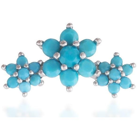 Single 3 flowers sterling silver turquoise stones stud earring - GALLERIA ARMADORO