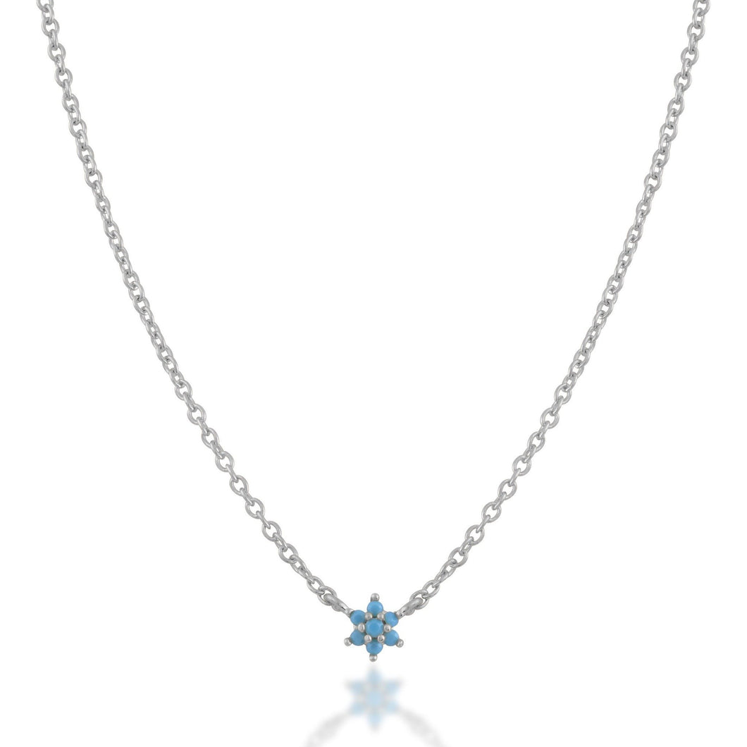 Single flower turquoise sterling silver necklace - GALLERIA ARMADORO