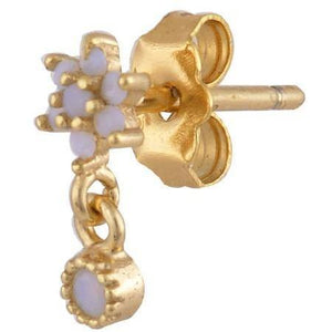 Single teardrop flower gold plated stud with opals - GALLERIA ARMADORO