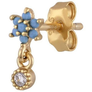 Single teardrop flower gold plated stud with turquoise - GALLERIA ARMADORO