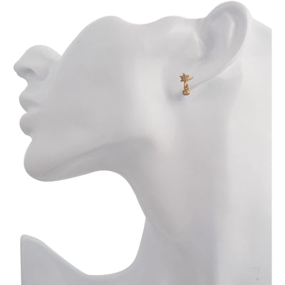 Single teardrop flower gold vermeil stud - GALLERIA ARMADORO