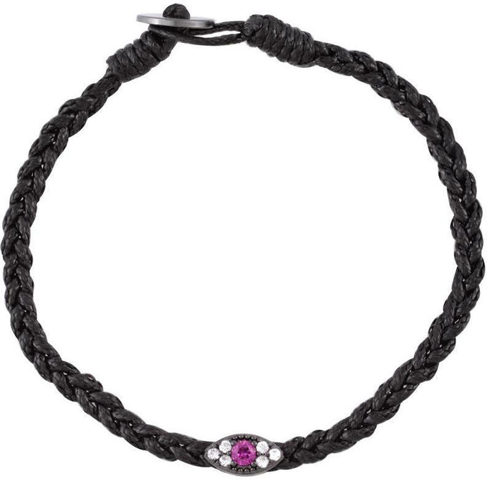 Small evil eye black gold plated braided bracelet