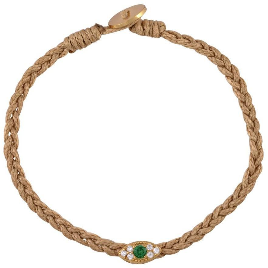 Image of Small evil eye gold pated braided bracelet