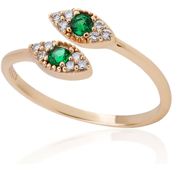 Small evil eye gold vermeil ring with green stone - GALLERIA ARMADORO