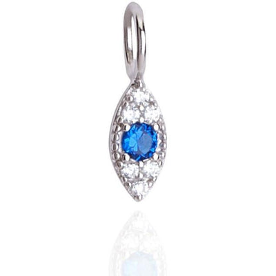 Small evil eye pendant white rhodium plated - GALLERIA ARMADORO