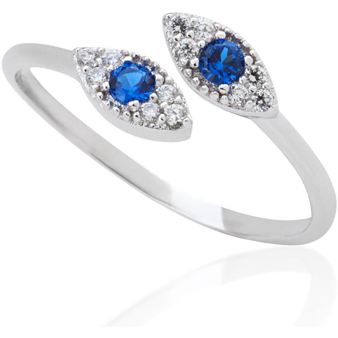 Small evil eye ring with blue stone - GALLERIA ARMADORO