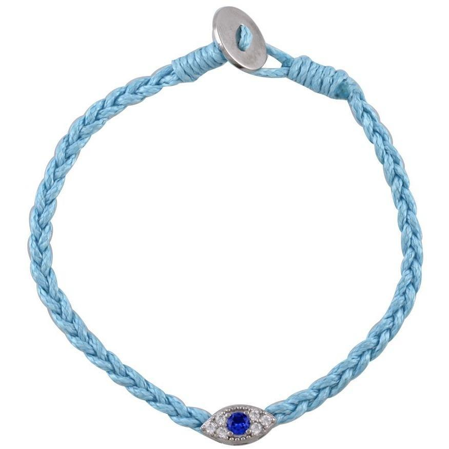 Small evil eye sterling silver braided bracelet - GALLERIA ARMADORO