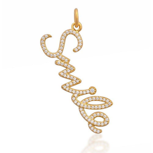 Smile white cz yellow gold vermeil charm - GALLERIA ARMADORO