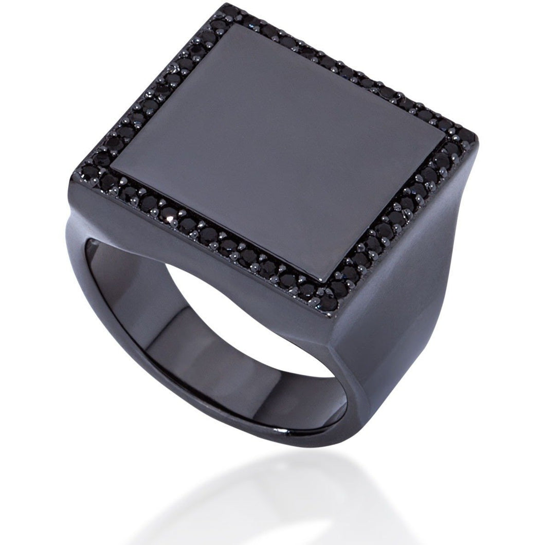 Square  black gold vermeil with black cz - GALLERIA ARMADORO