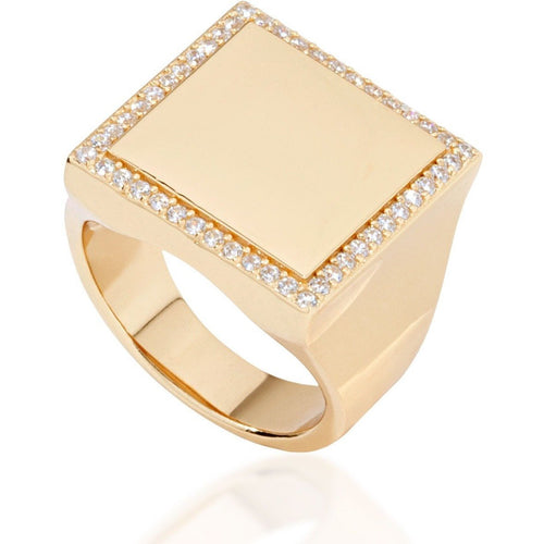 Square gold vermeil with white cz