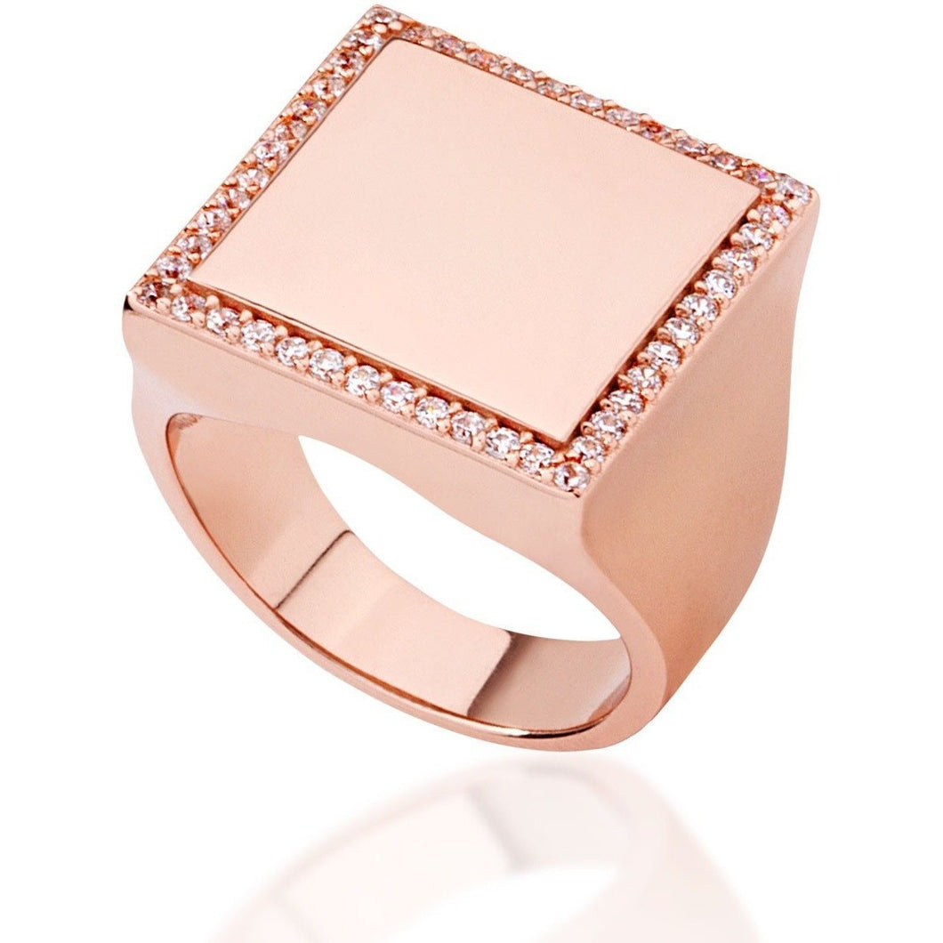 Square pink gold vermeil with white cz - GALLERIA ARMADORO