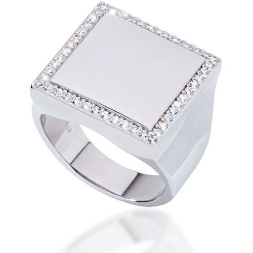 Square sterling silver with white cz