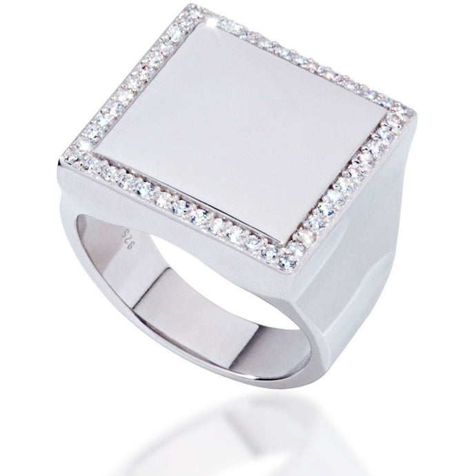 Square sterling silver with white cz - GALLERIA ARMADORO