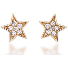 Load image into Gallery viewer, Star stud earrings gold plated with white cz stones - GALLERIA ARMADORO