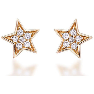 Star stud earrings gold plated with white cz stones - GALLERIA ARMADORO