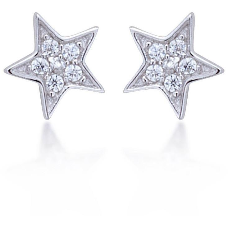 Star stud with white cz stones - GALLERIA ARMADORO