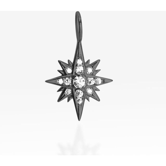 Starburst white cz black rhodium plated pendant - GALLERIA ARMADORO
