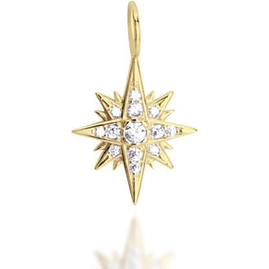 Starburst white cz gold plated plated pendant - GALLERIA ARMADORO