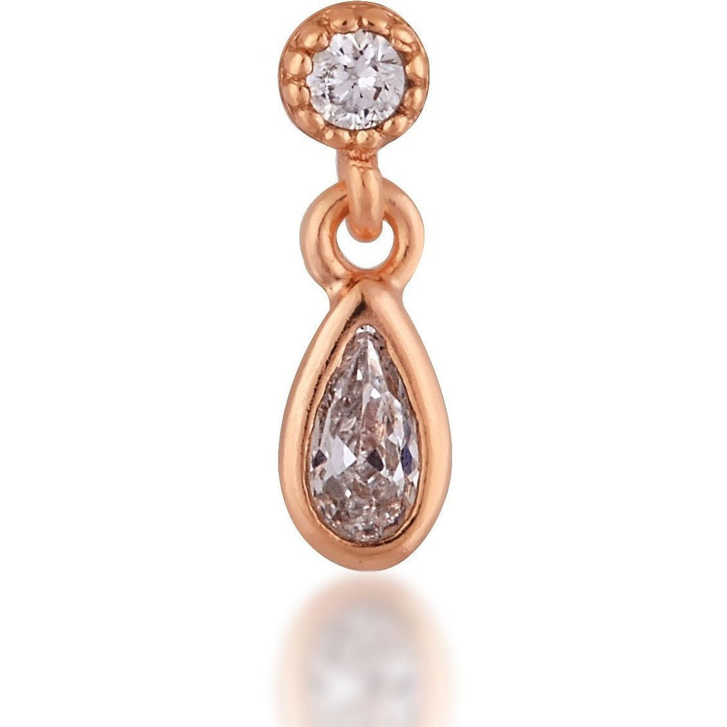 Stud teardrop pink gold plated single earring - GALLERIA ARMADORO