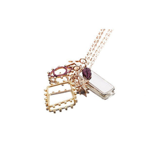 Tag sterling silver pink gold plated white cz pendant - GALLERIA ARMADORO