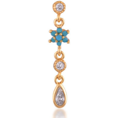 Teardrop flower gold plated turquoise single earring - GALLERIA ARMADORO