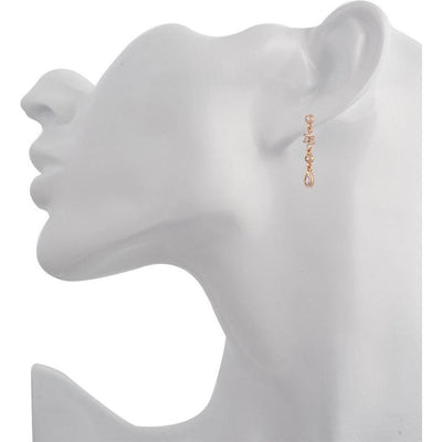 Teardrop flower pink gold plated single earring - GALLERIA ARMADORO