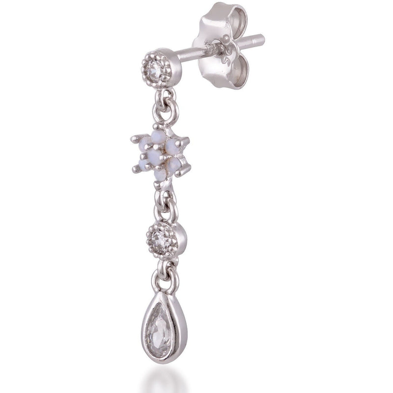 Teardrop flower sterling silver opal single earring - GALLERIA ARMADORO