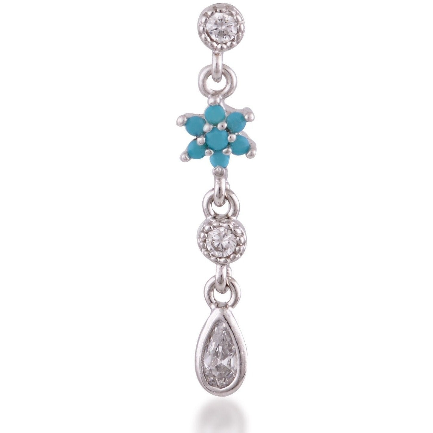 Teardrop flower sterling silver turquoise single earring - GALLERIA ARMADORO