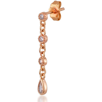 Teardrop waterfall pink gold plated single earring - GALLERIA ARMADORO
