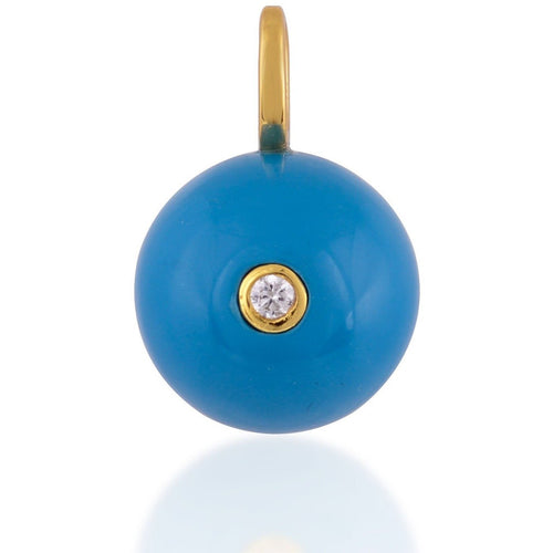 Turquoise gold plated 12mm ball pendant - GALLERIA ARMADORO