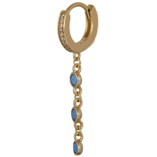 Waterfall turquoise & white stones gold vermeil huggie - GALLERIA ARMADORO