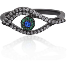 Load image into Gallery viewer, Wavy evil eye black gold vermeil ring - GALLERIA ARMADORO