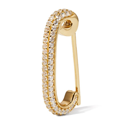Pin gold vermeil pave single earring