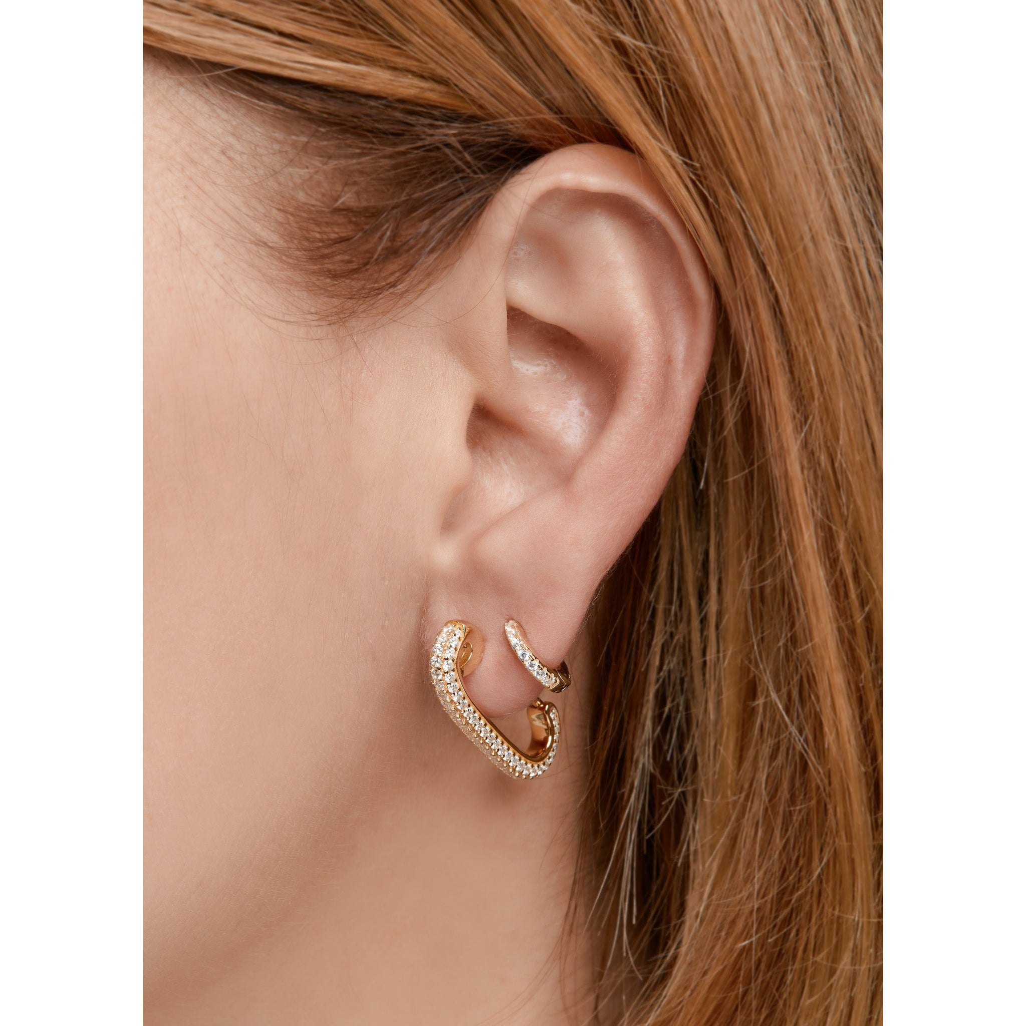 3ffc11b9c ... Load image into Gallery viewer, Pin gold vermeil pave single earring ...