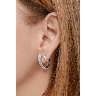 Pin sterling silver pave single earring