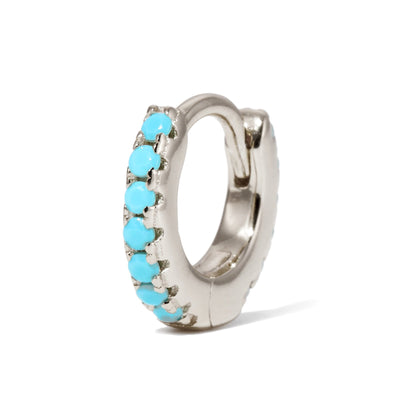 6,5mm sterling silver turquoise huggie - GALLERIA ARMADORO