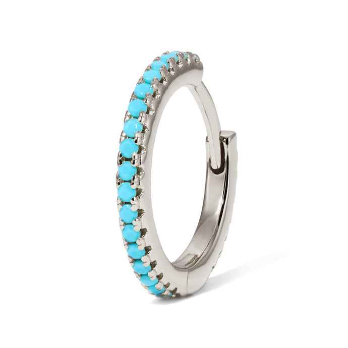 11 mm sterling silver turquoise huggie - GALLERIA ARMADORO