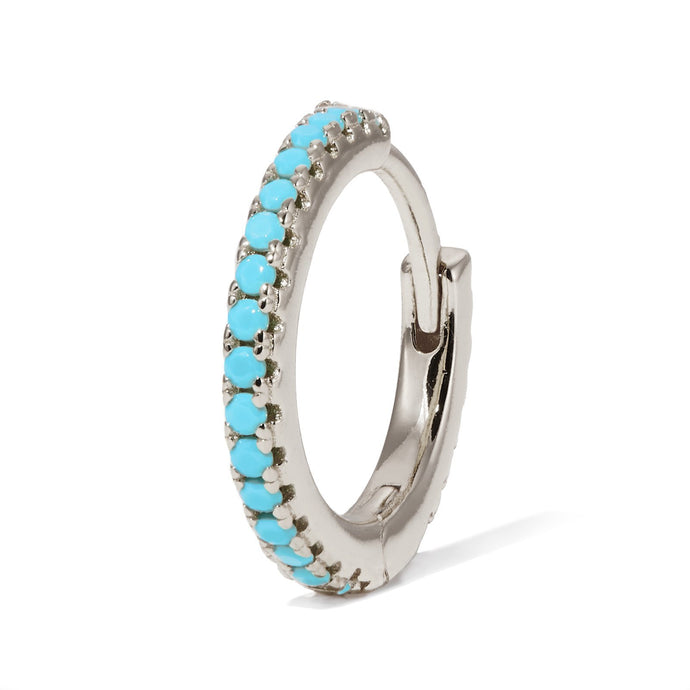12,5 mm sterling silver turquoise huggie - GALLERIA ARMADORO