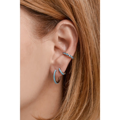 Large sterling silver ear turquoise cuff