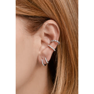 Large sterling silver opal ear cuff