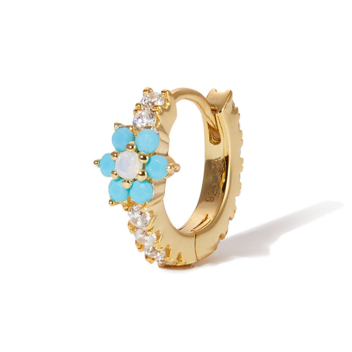 Flower turquoise & opal gold vermeil huggie