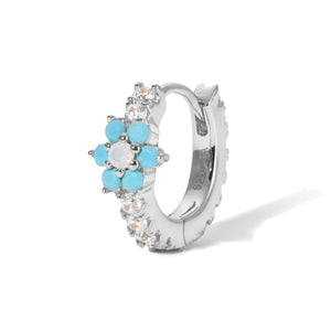Flower turquoise & opal sterling silver huggie