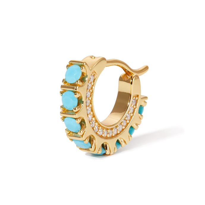 Spine turquoise gold vermeil huggie