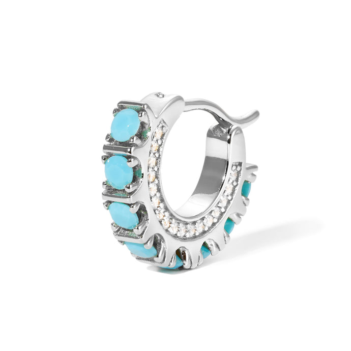 Spine turquoise sterling silver huggie