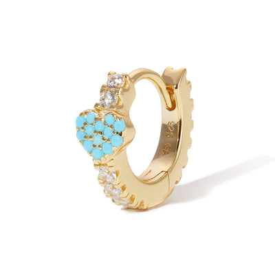 Turquoise heart gold vermeil huggie