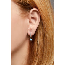 Load image into Gallery viewer, Hanging star sterling silver turquoise & opal earring