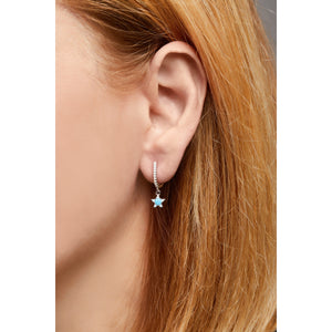 Hanging star sterling silver turquoise & opal earring