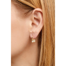 Load image into Gallery viewer, Padlock gold vermeil pave earring
