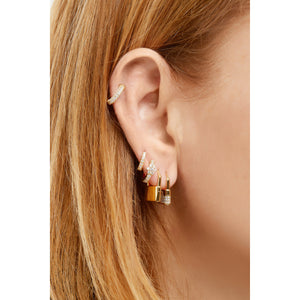 Padlock gold vermeil pave earring
